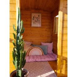 Roulotte enfant bois naturel avec toit long - Cabane enfant