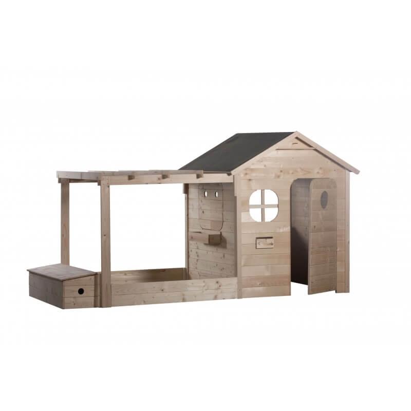 Maison de jardin pour enfant avec pergola + bac à sable + coffre à jouets version brute - Cabane enfant