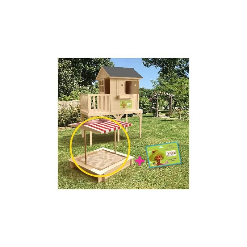 PACK BON PLAN - Maison de jardin enfant sur pilotis 59 cms + bac à sable carré (120 x 120 )avec bancs dépliables + écriteau