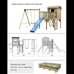 Aire de jeux en bois ultra équipée avec maisonnette et tobbogan