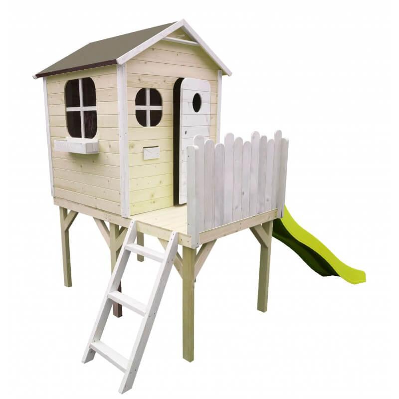 Maison enfant design sur pilotis avec toboggan - Cabane enfant traitée et peinte