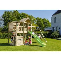 Aire de jeux en bois avec toboggan et balançoires - Palazzo et Swing