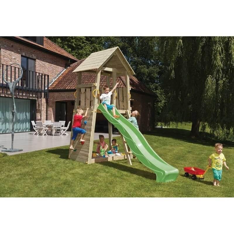 Aire de jeux en bois avec toboggan - Belvédère (Hauteur pilotis : 150 cms)