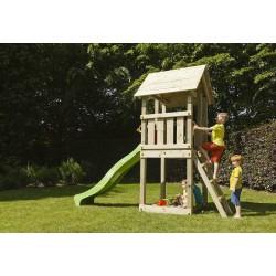 Aire de jeux en bois avec toboggan - Kiosk (hauteur pilotis :120 cms)