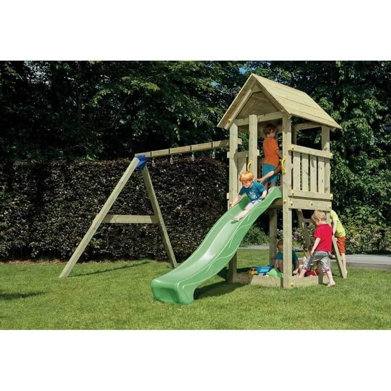 Aire de jeux en bois avec toboggan et balançoire - Kiosk + Module Swing (hauteur pilotis : 120 cms)