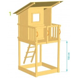Aire de jeux en bois avec toboggan - Beach Hut (Hauteur pilotis : 150 cms)
