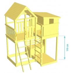 Aire de jeux en bois avec toboggan - Palazzo