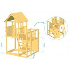 Aire de jeux en bois avec toboggan - Penthouse