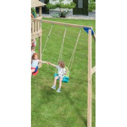 Aire de jeux en bois avec toboggan et balançoire - Belvédère + Module Swing (hauteur pilotis : 120 cms)