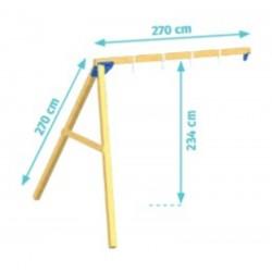 Aire de jeux en bois avec toboggan et balançoire - Kiosk + Module Swing (hauteur pilotis : 150 cms)