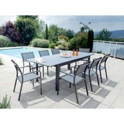 PACK MILOS GRIS : Ensemble repas 8 personnes - fauteuils + table
