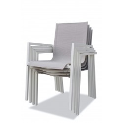 PACK IBIZA CONFORT IVOIRE : Ensemble repas 10 personnes - fauteuils + table
