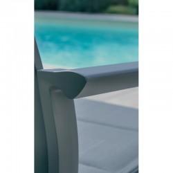 PACK Ibiza lisse fumée 6/8 personnes - table + fauteuils