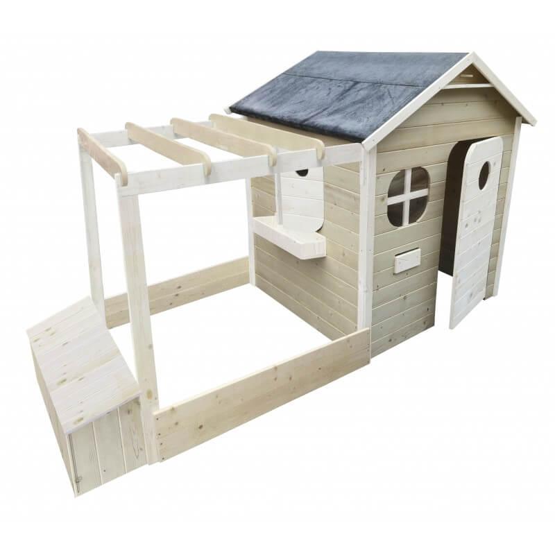 Maison de jardin avec pergola + Bac à sable + Coffre à jouets - Cabane enfant traitée et peinte