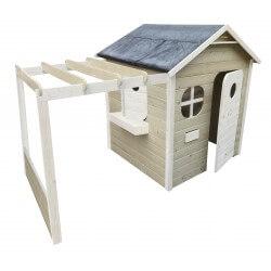 Maison de jardin avec pergola - Cabane enfant traitée et peinte