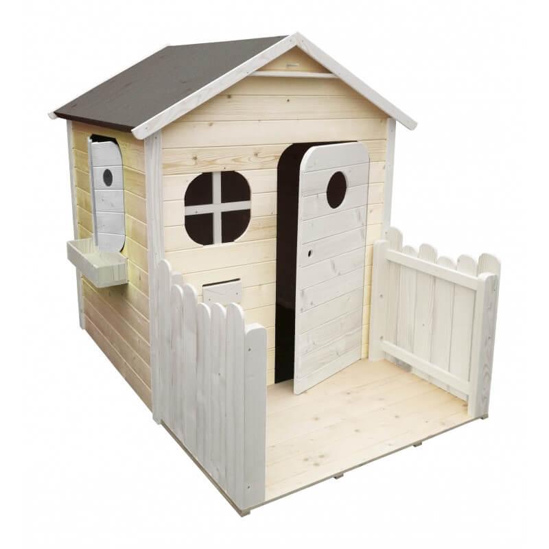 Maison de jardin enfant avec terrasse version colorée - Cabane enfant traitée et peinte