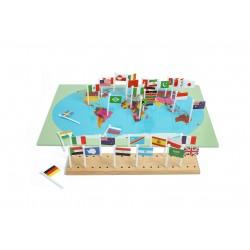 La Carte du monde et ses drapeaux - Jeux Montessori