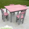 Table rectangulaire pour enfants rose